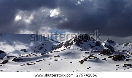 Panoramic view of snow mountains before storm. Turkey, Central Taurus Mountains, Aladaglar (Anti-Taurus) view from plateau Edigel (Yedi Goller) - stock photo