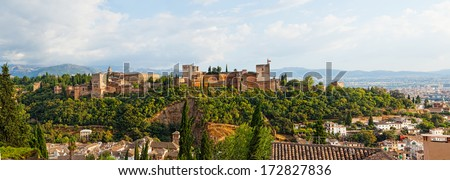 Panoramic view of Spain's main tourist attraction: ancient arabic fortress of Alhambra, Granada, Spain