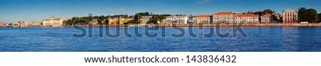 Panoramic view of St. Petersburg. Vasilyevsky Island in summer day - stock photo