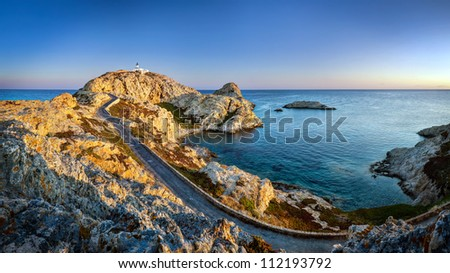 Panoramic view of sunrise on Isula Rossa (L'Ã?Â?le-Rousse) on the island Corsica. - stock photo