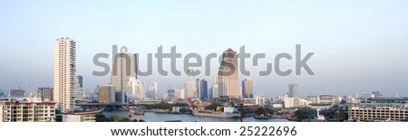 Panoramic view of Taksin bridge in Bangkok