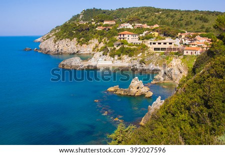 Panoramic view of Talamone and Tyrrhenian sea in Tuscany, Italy