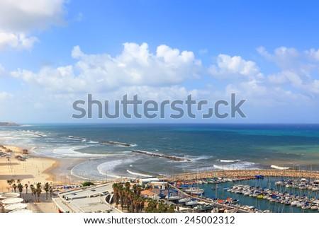 Panoramic view of Tel-Aviv beach and marina (Mediterranean sea. Israel)  - stock photo