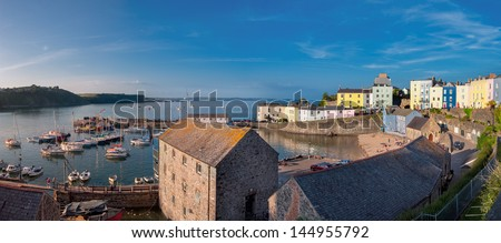 Panoramic view of Tenby harbour, South Wales, UK - stock photo