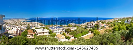 panoramic view of the beautiful Chania city with its white houses - Crete, Greece - stock photo