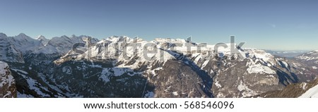 Panoramic View of the Bernese Alps, Grindelwald, Switzerland.