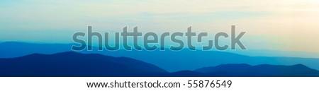 Panoramic view of the Blue Ridge Mountains of Virginia - stock photo