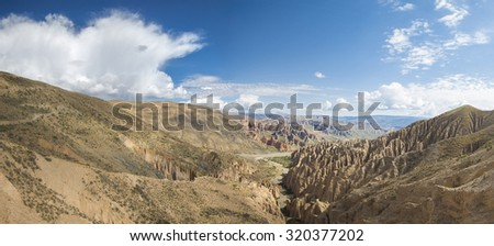 Panoramic view of the canyon of Valle de la luna (Valley of the Moon) against a blue sky and located near Tupiza, Bolivia - stock photo