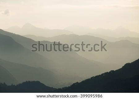 Panoramic view of the Carrara Mountains Tuscany, source of the famous Italian Carrara marble - stock photo