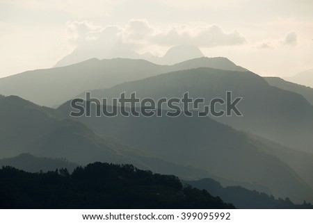 Panoramic view of the Carrara Mountains Tuscany, source of the famous Italian Carrara marble