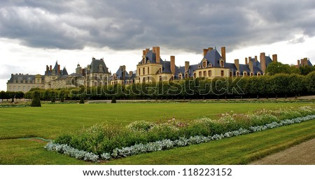 Panoramic view of the Castle Fontainebleau and its garden