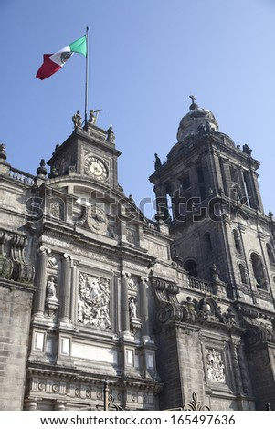 Panoramic view of the cathedral of Mexico DF - stock photo