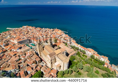Panoramic view of the Cefalu, Sicily island in Italy. Lovely sea and mediterranean historical houses. Province of Palermo. - stock photo