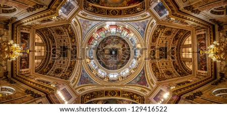 Panoramic view of the ceiling of Saint Isaac's Cathedral (Isaakievskiy Sobor) in Saint Petersburg, Russia - stock photo