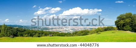 Panoramic view of the city - stock photo