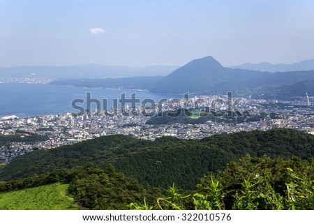 Panoramic view of the City of Beppu in Oita, Japan