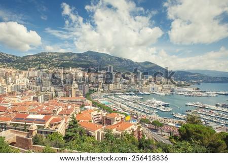 Panoramic view of the coastal area of Monaco - stock photo