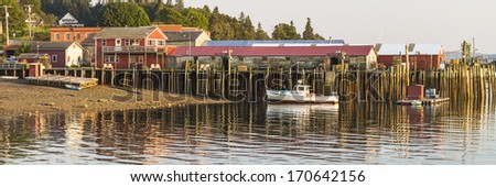Panoramic view of the docks in Bass Harbor, Maine on Mount Desert Island - stock photo
