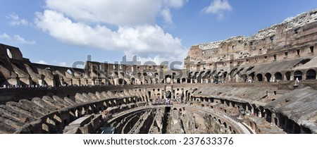 Panoramic view of the famous Colosseum or Coliseum, also known as the Flavian Amphitheatre.  - stock photo