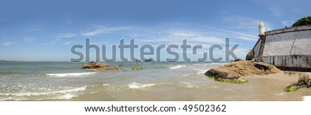 Panoramic view of the fort of honey island (ilha do mel), brazil - stock photo