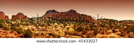 Panoramic view of the Garden of the Gods in Manitou Colorado - stock photo