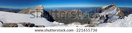 Panoramic view of the Glarnisch glacier, Swiss Alps, Switzerland. The glacier is part of the Glaernisch-Massif in the Glarner Alps with the most popular peak Vrenelisgaertli (Verena's Little Garden). - stock photo