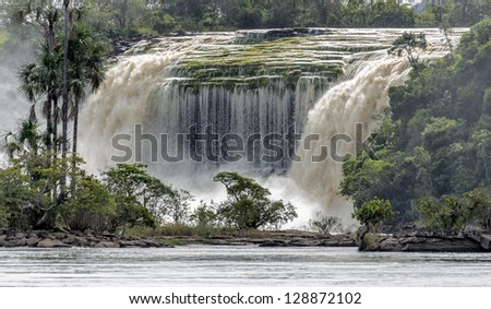 Panoramic view of the Hacha falls in the lagoon of Canaima national park - Venezuela, Latin America - stock photo