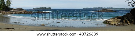 Panoramic view of the half moon bay in the pacific rim national park at vancouver island, british columbia, canada