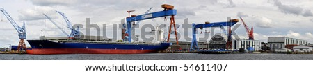 panoramic view of the harbor of Kiel, Germany, with its wharf - stock photo