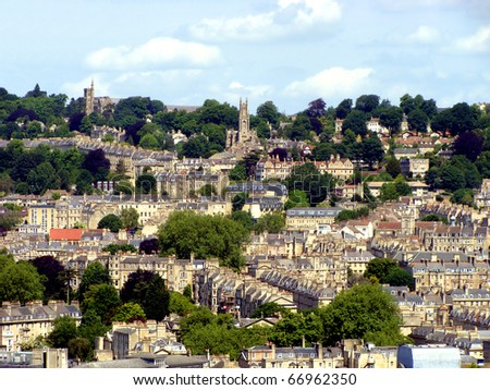 Panoramic view of the historic city of Bath, England
