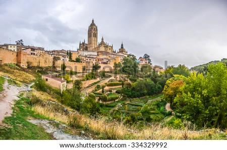 Panoramic view of the historic city of Segovia skyline with Catedral de Santa Maria de Segovia, Castilla y Leon, Spain - stock photo