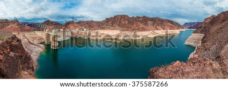 Panoramic view of The Hoover Dam - stock photo
