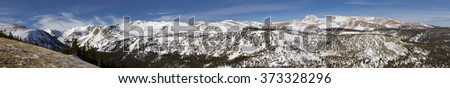 Panoramic view of the Indian Peaks Wilderness from the trails above Eldora , near Boulder, Colorado. - stock photo