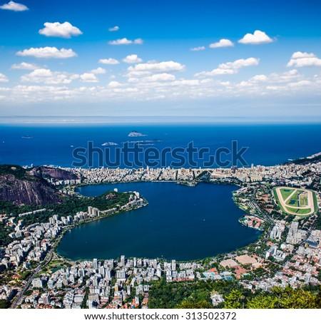 Panoramic view of the Ipanema , Lagoa and Leblon in Rio de Janeiro, Brazil. - stock photo