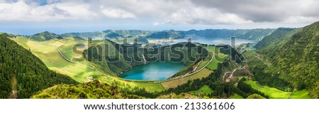 Panoramic view of the lakes of Santiago and Sete Cidades, Azores, Portugal - stock photo