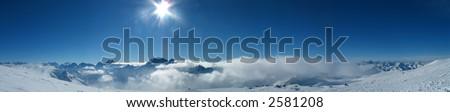 Panoramic view of the main Caucasian mountain ridge. View from Elbrus, 4200m - stock photo