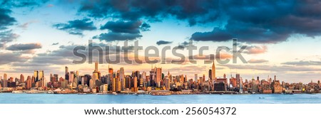 Panoramic view of the midtown Manhattan skyline before sunset (ultra high resolution) - stock photo