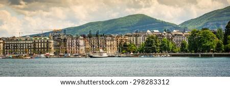 panoramic  view of the modern embankment and the center of Geneva, Switzerland - stock photo