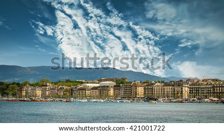 panoramic  view of the modern embankment and the center of Geneva, Switzerland