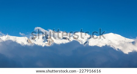 Panoramic view of the Mont Blanc in Chamonix, French Alps - France - stock photo