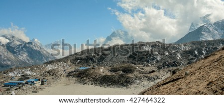 Panoramic view of the Mount Everest region from slope of the Kala Patthar to Gorak Shep village - Nepal, Himalayas - stock photo