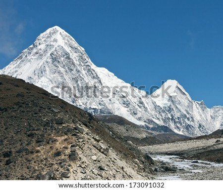Panoramic view of the Mt. Everest region near Gorak Shep, Nepal - stock photo