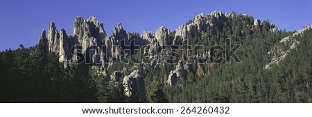 Panoramic view of The Needles on Needles Highway, Black Hills, near Mount Rushmore National Memorial, South Dakota - stock photo