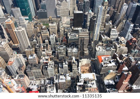 Panoramic view of the New York City skyline - stock photo