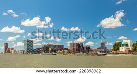 Panoramic view of the north side of the river Maas in Rotterdam, The Netherlands