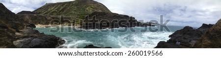 Panoramic View of the Ocean Shore - Oahu, Hawaii - stock photo