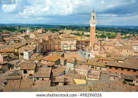 Panoramic view of the old city od Siena, Tuscany, Ita