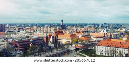 panoramic view of the old city of Wroclaw in Poland, travel concept - stock photo