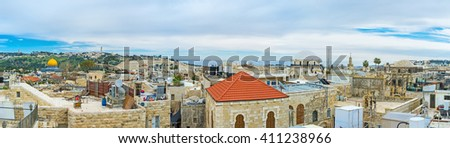 Panoramic view of the old city with the stone domes of the Synagogues and the golden cupola of the Dome of the Rock, Jerusalem, Israel. - stock photo