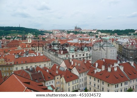Panoramic View of the Old Town's Rooftops in Prague, Czech Republic
